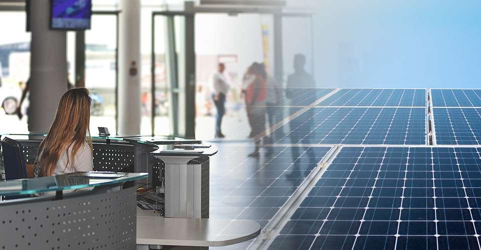 Edifício inteligente com placas de energia solar